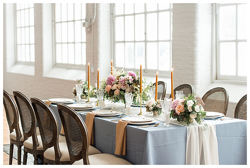 Soft Blue and Peach Wedding Tablescape