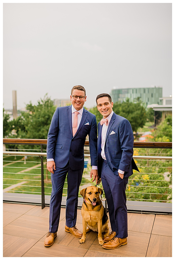 Two Grooms and Their Dog