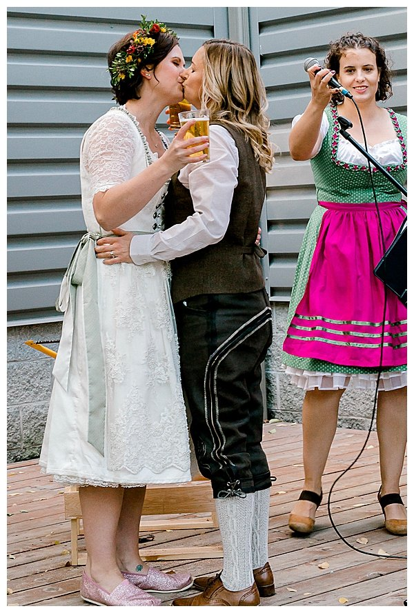 Wedding Ceremony Kiss with Beer