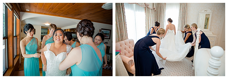 Brides and Bridesmaids Getting Ready