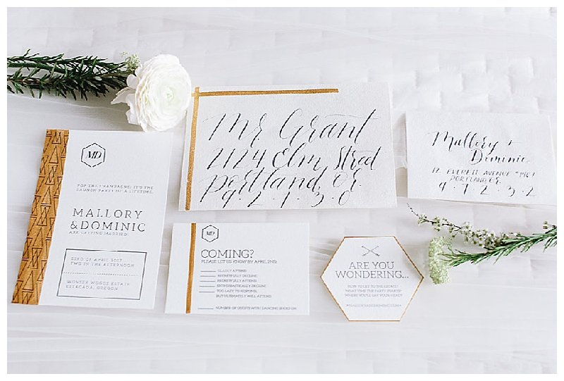 Modern Navy and Gold Wedding Invitation Suite