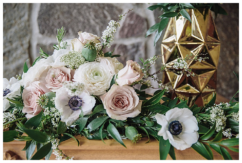 Wedding Ceremony Florals with Dahlias and Ranunculus