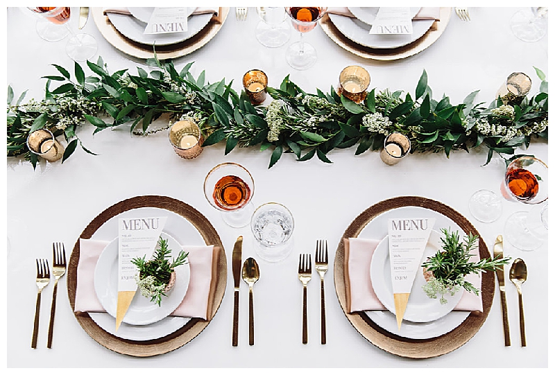 White Tabletop with Greenery and Wood