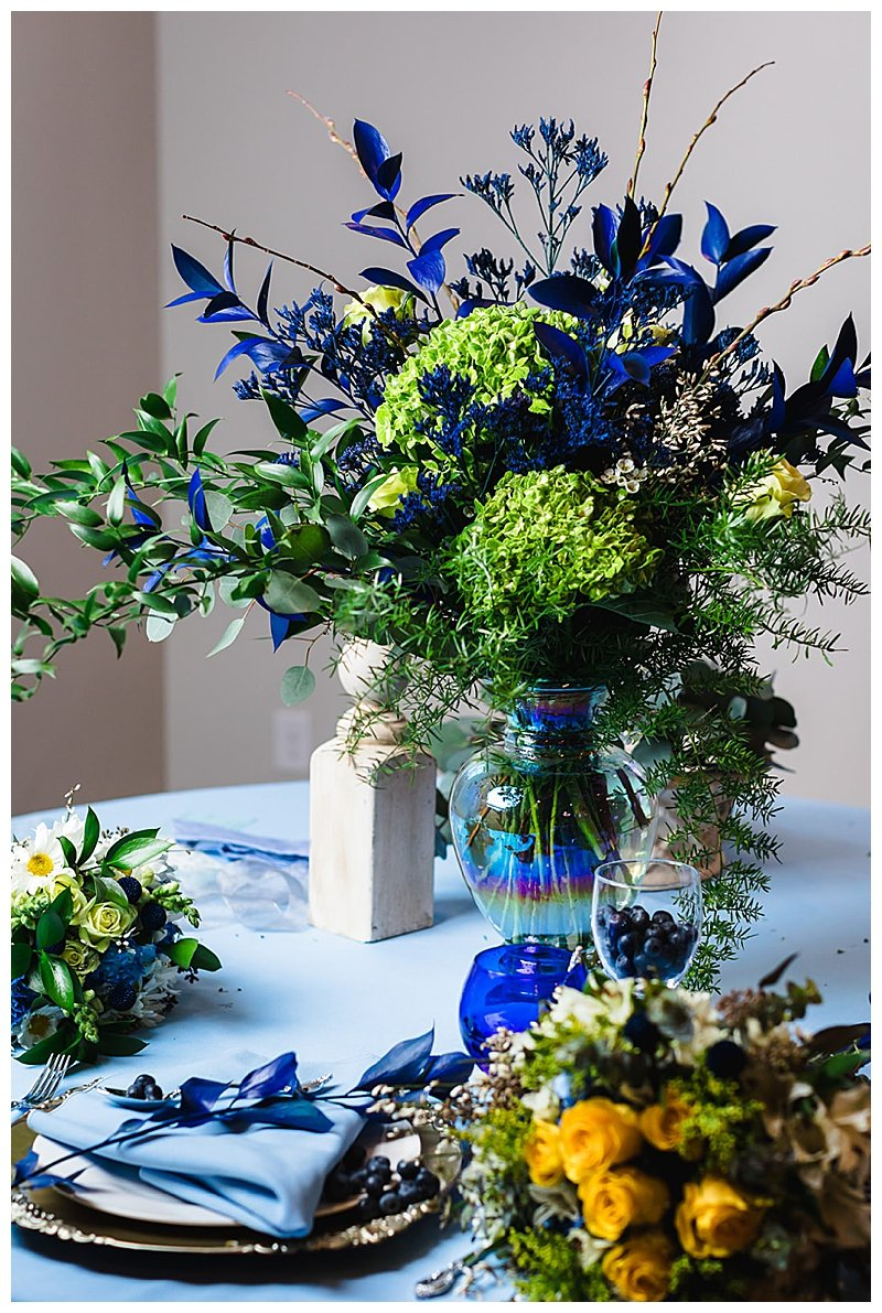 Blue and Green Wedding Centerpiece