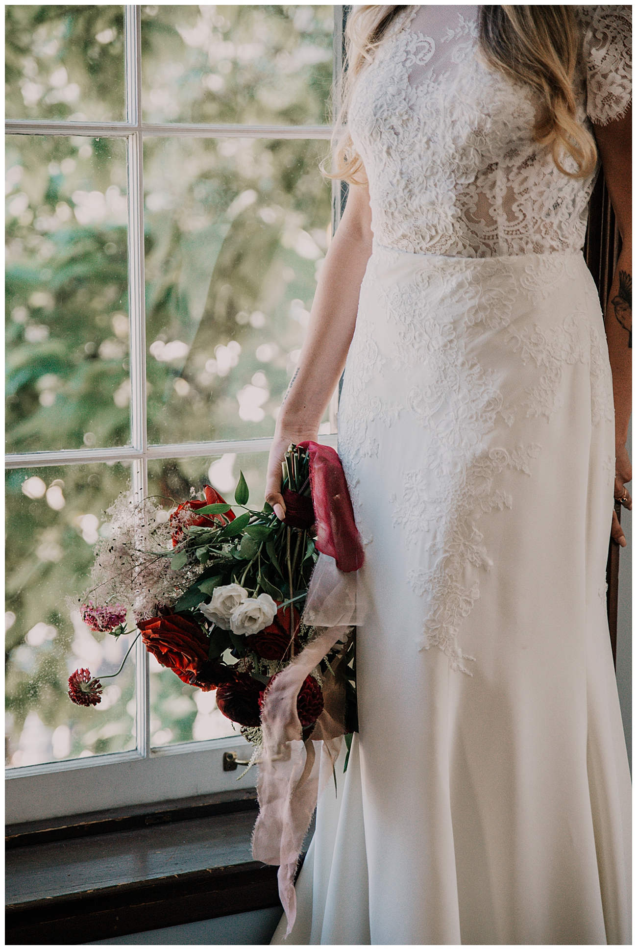 Lace Wedding Dress with Red Bouquet