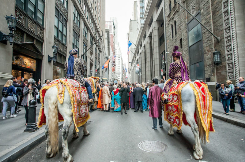 Image for This Luxe Hindu Wedding Had a 7-Foot Cake and Shut Down Wall Street in NYC