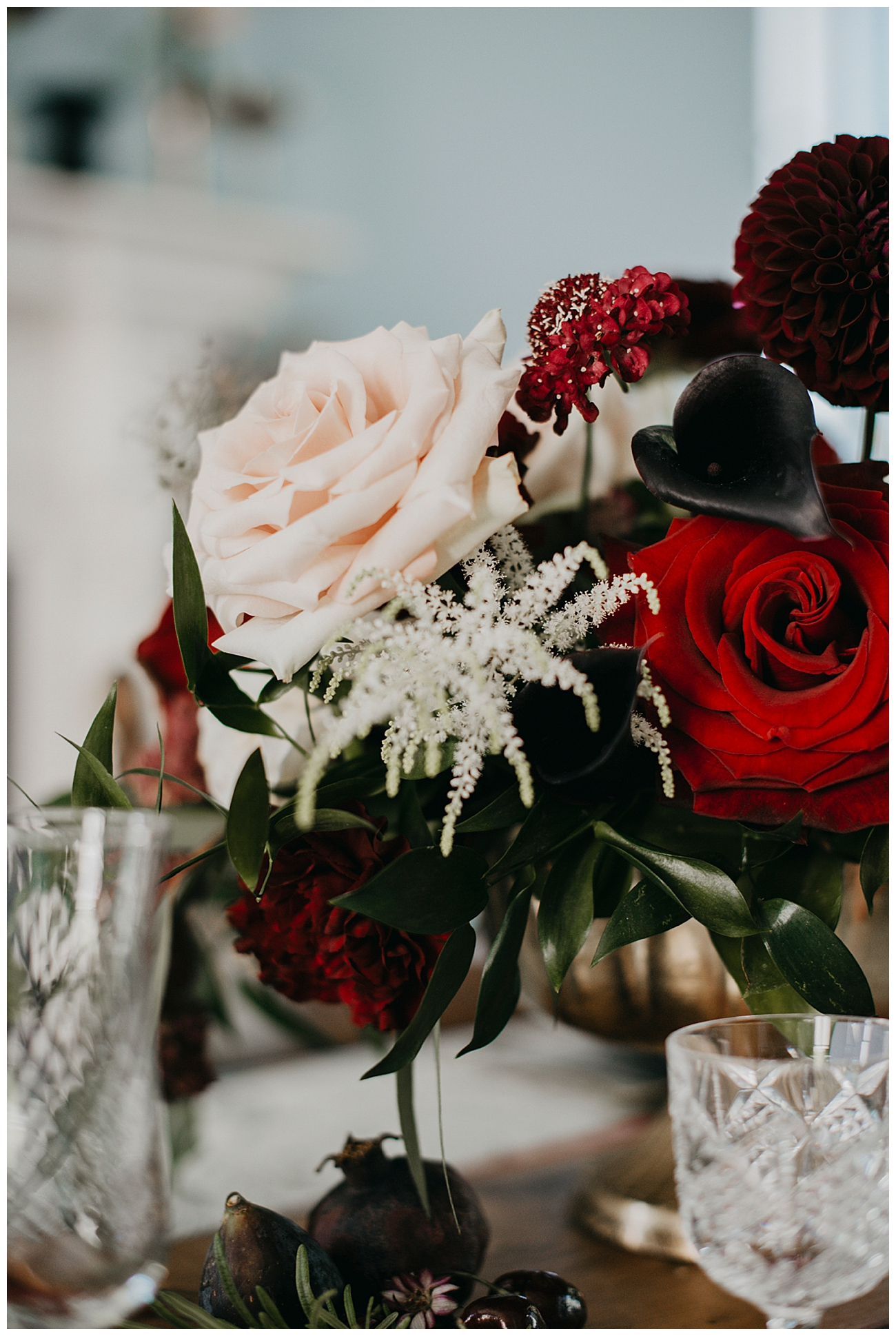 Moody Wedding Floral Centerpiece