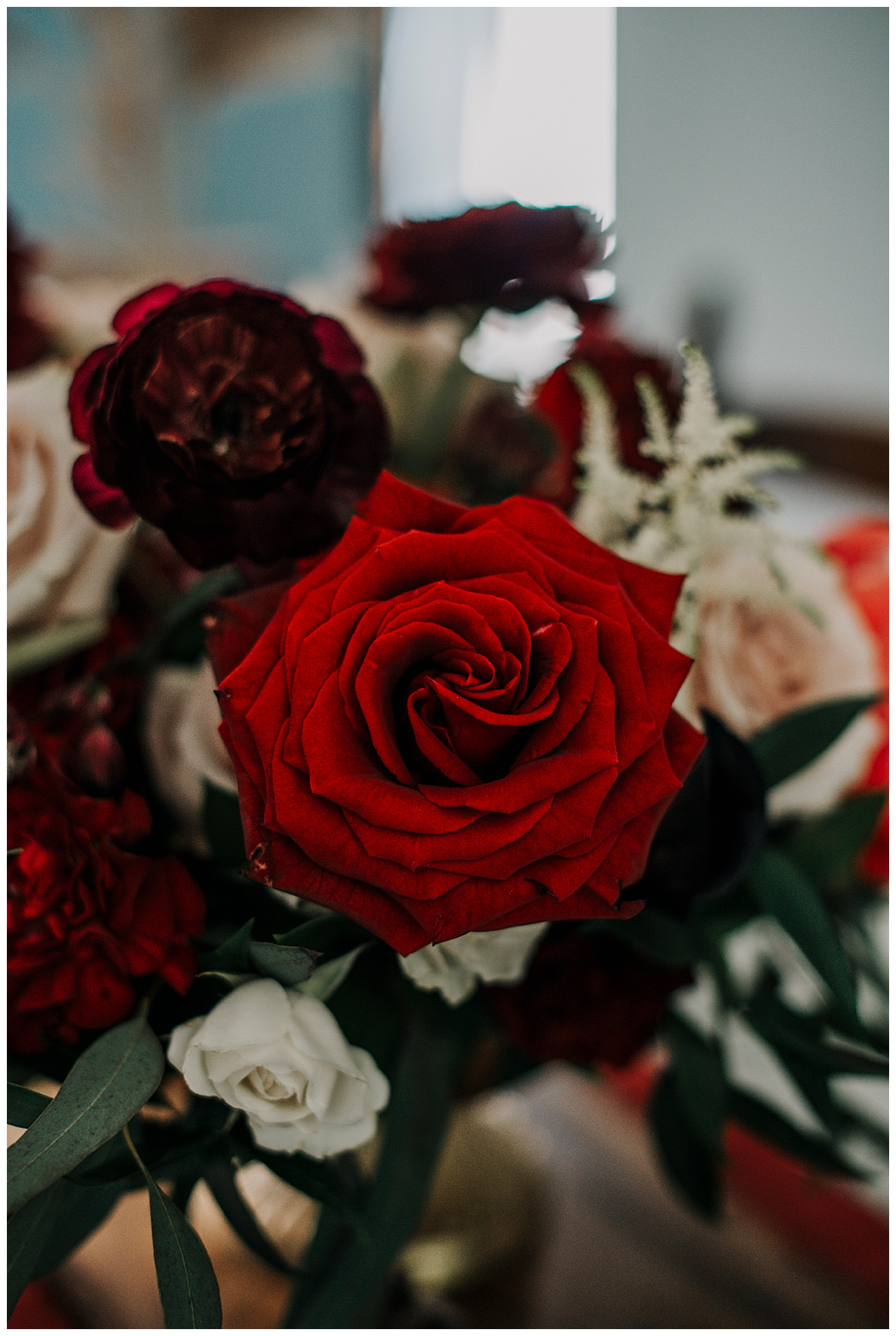 Red Roses and Dahlias Wedding Florals