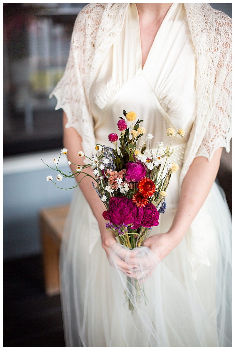 Vintage Bride Wedding Dress and Bouquet