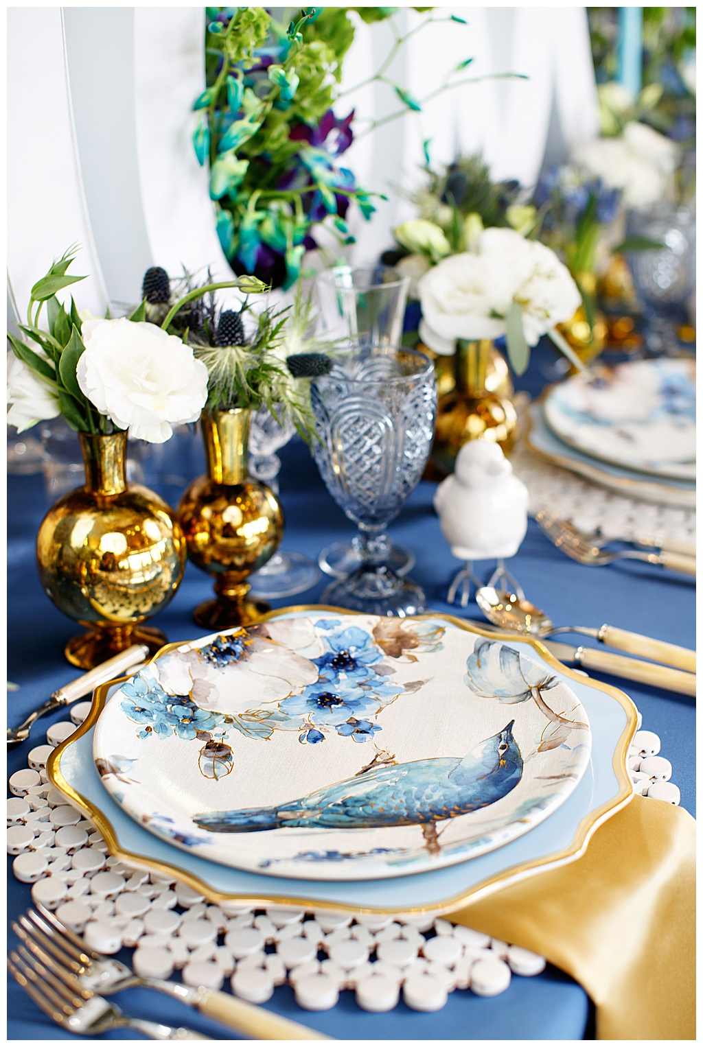 Blue and Gold Brunch Tabletop