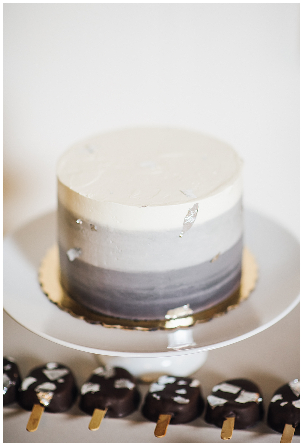 Gray and White Ombre Wedding Cake