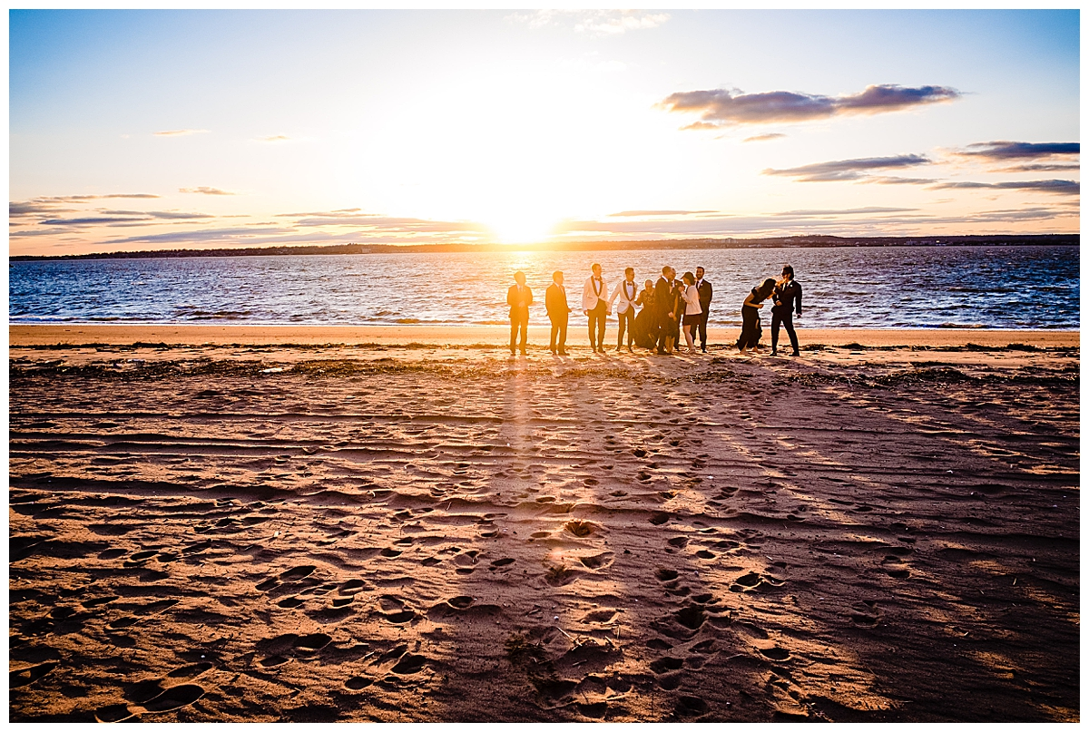 sunset-wedding-party-pictures-on-a-beach
