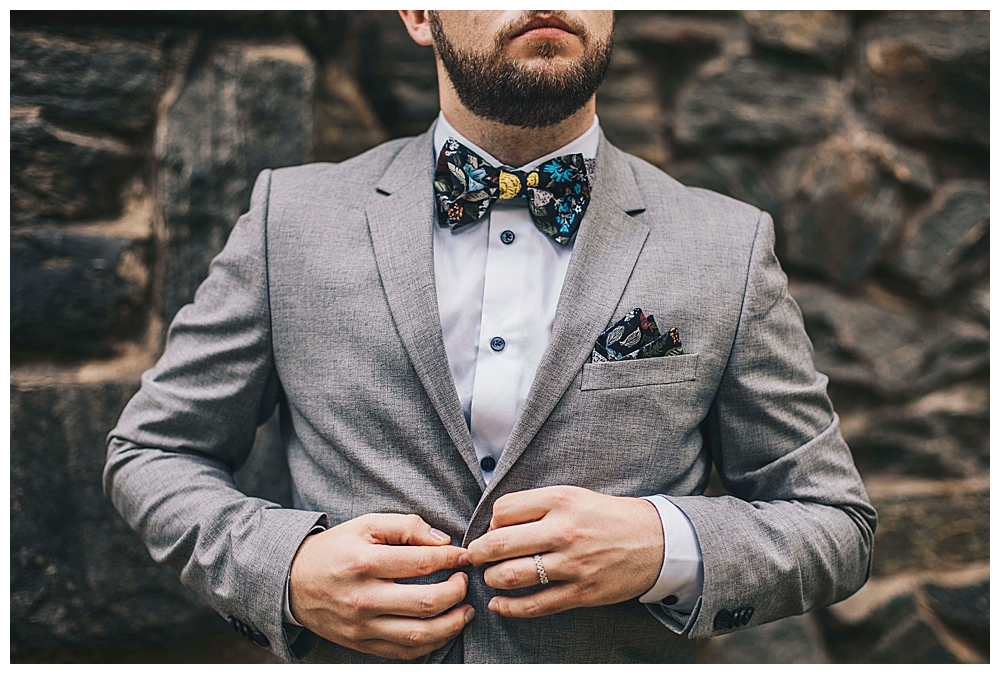 gray-suit-with-floral-bow-tie