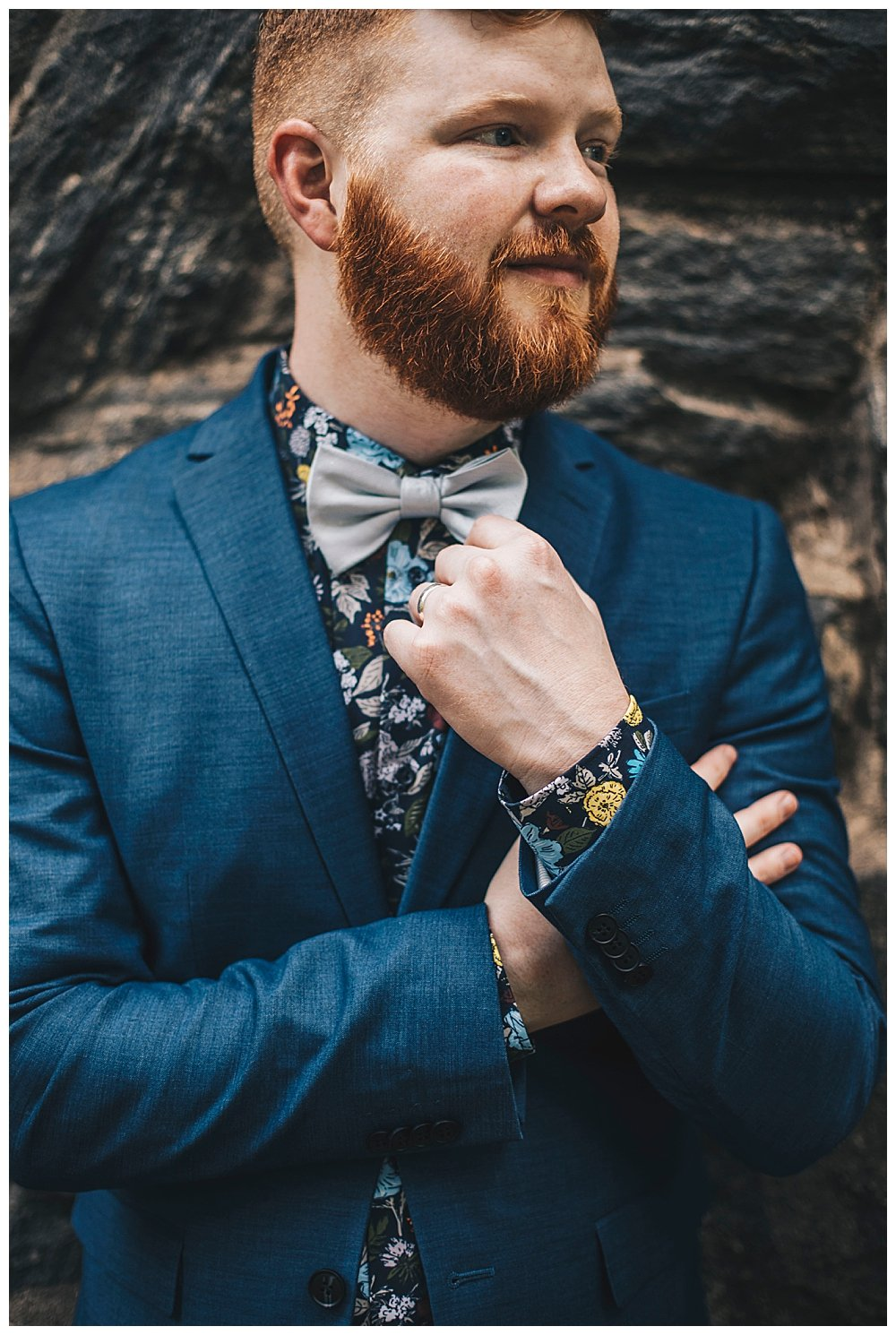 navy-suit-with-floral-button-down