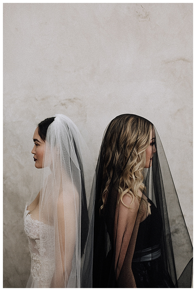 two-brides-black-and-white-dresses