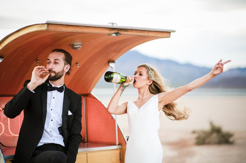 Image for This Cool Las Vegas Elopement Took Place in a Lake Bed