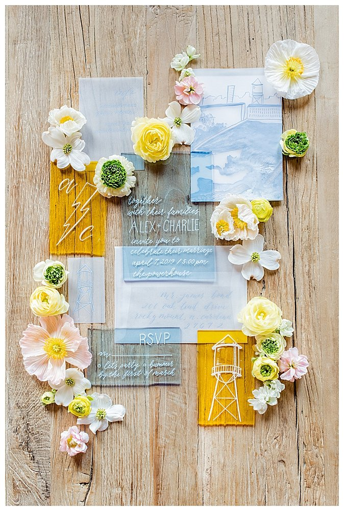 yellow-and-blue-acrylic-wedding-invitation-suite