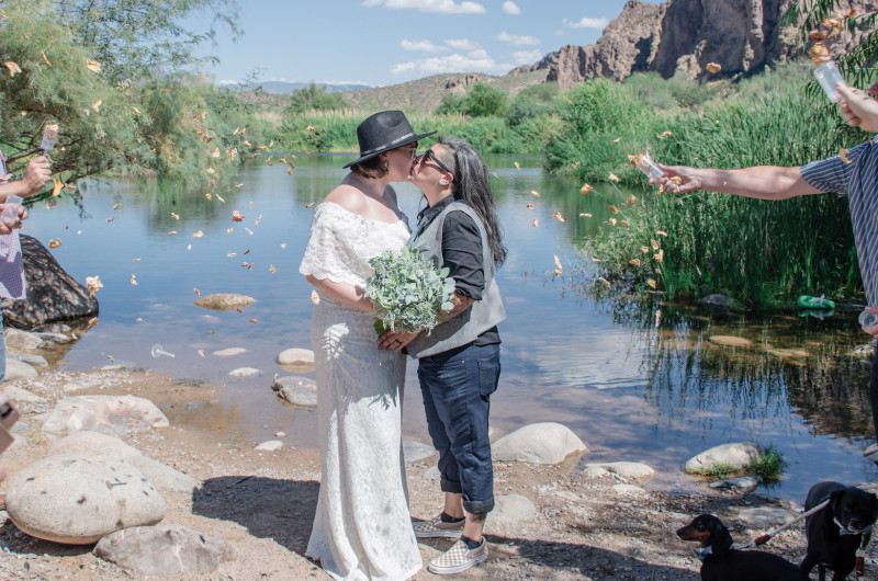 Image for Intimate Bohemian Mountaintop Elopement Overlooking the Arizona Desert