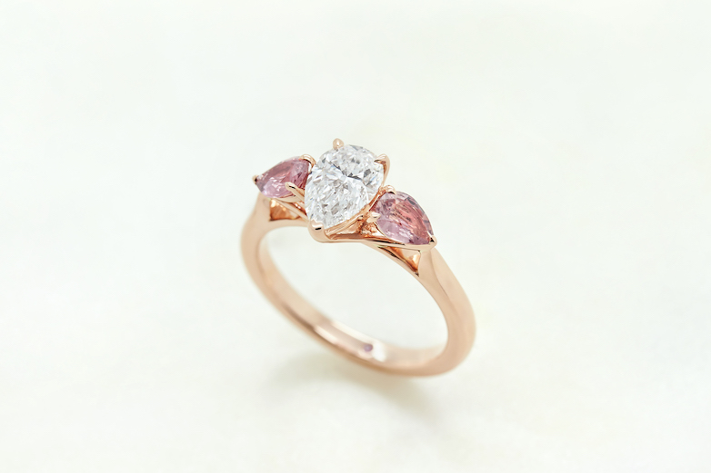 Engagement Ring with Pink Diamonds