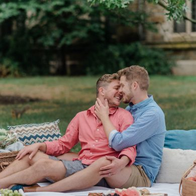 Outdoor Picnic Gay Engagement Session