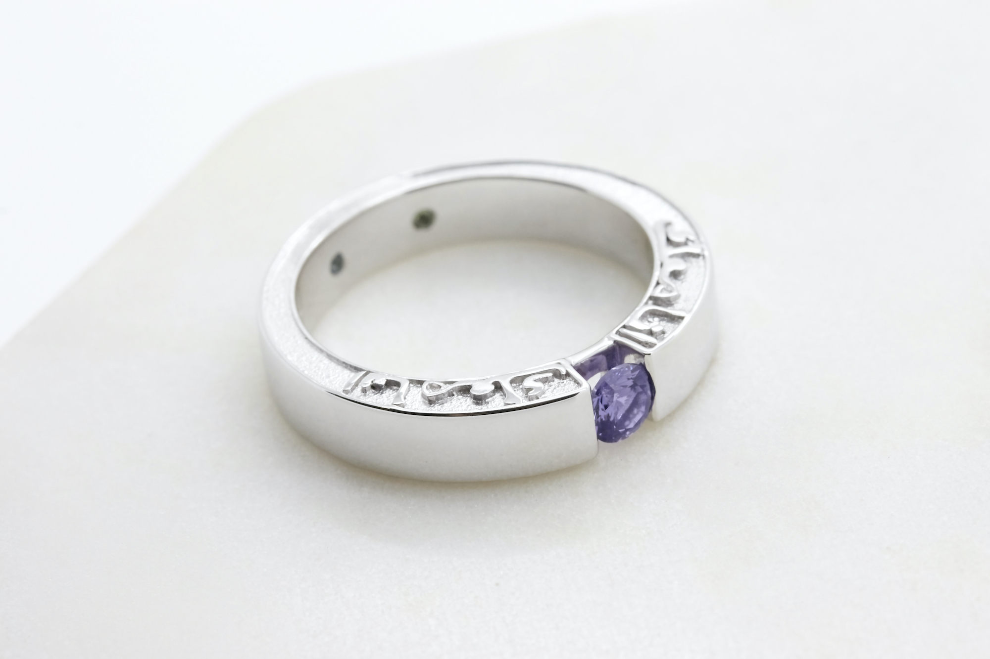 white gold and sapphire engagement ring