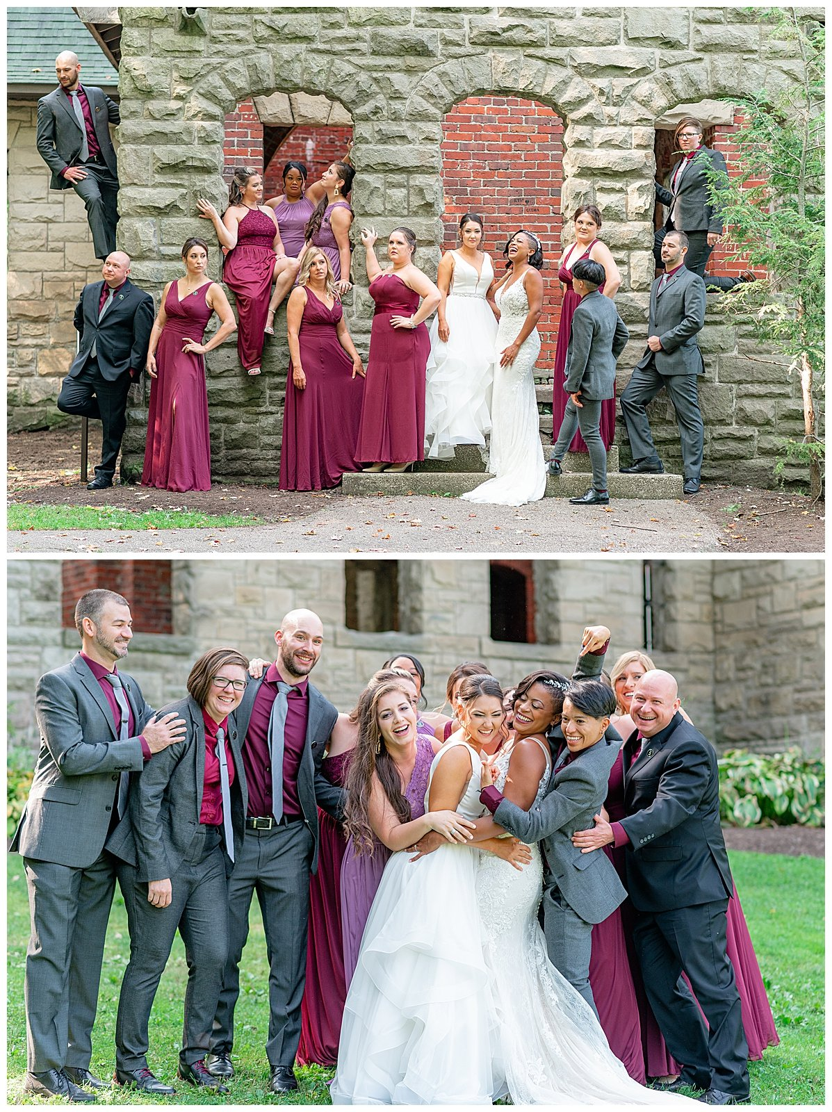 red-and-purple-wedding-party