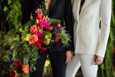 Bright Wedding Bouquet with Palms