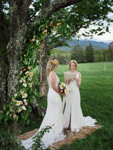 Ceremony Decor with Rug and Greenery