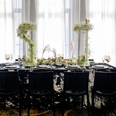 Glam Black Sequined Table Linen