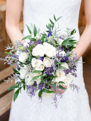 Lavender and White Rose Wedding Bouquet