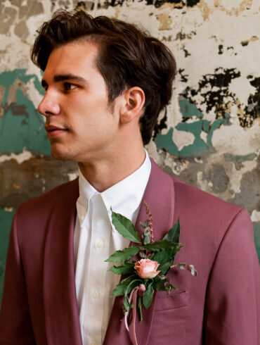 Leafy Wedding Boutonniere with Single Pink Rose