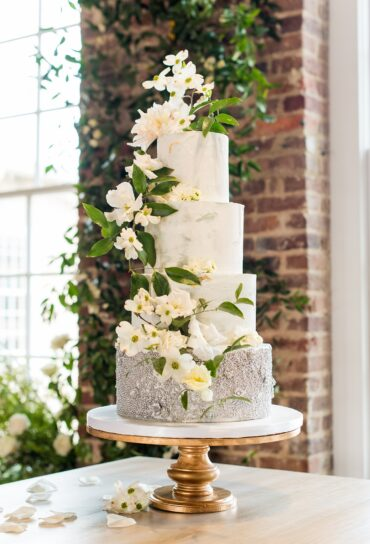 Marbled White Wedding Cake with Silver Beads