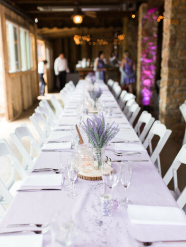 Purple Linen Tabletop with Lavender in Mason Jars