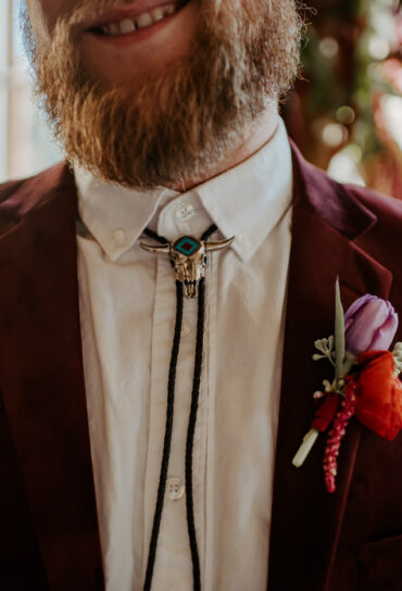 Red and Pink Wedding Boutonniere