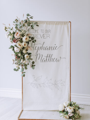 Rose Gold Industrial Pipe Ceremony Decor with Calligraphy Banner