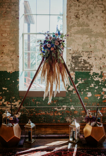 Triangle Arch Ceremony Decor with Florals and Pampas Grass
