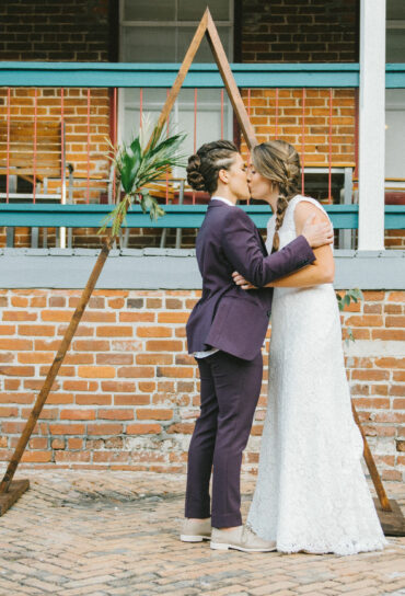 Wooden Triangle Ceremony Backdrop