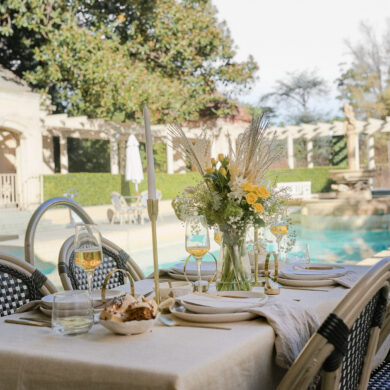 Yellow and Beige Tabletop Poolside